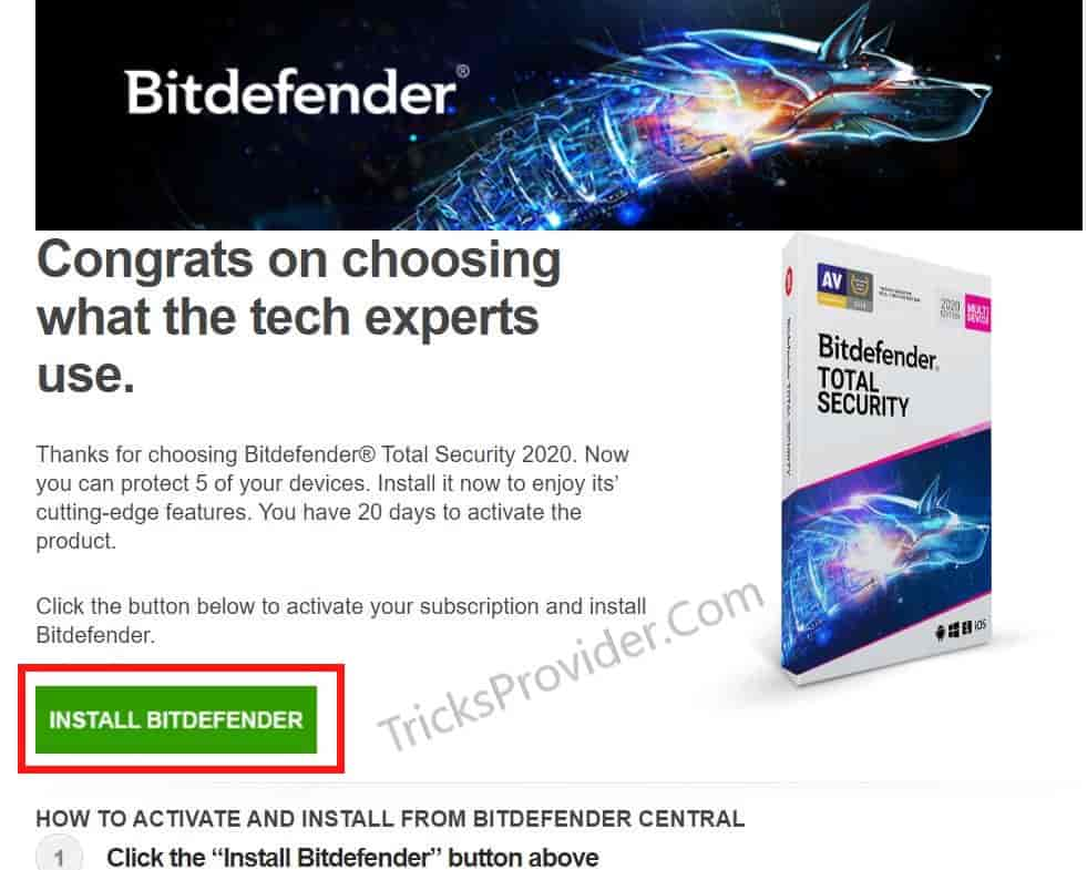 bitdefender total security email confirmation