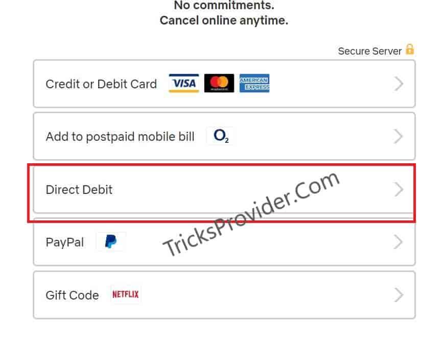 netflix direct debit