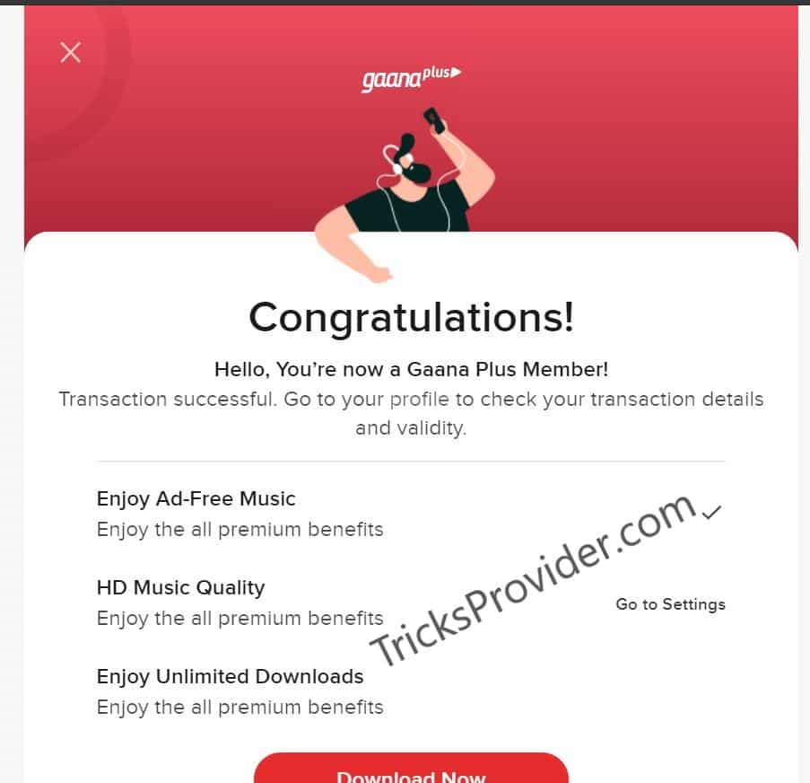 free for 3 months gaana plus subscription